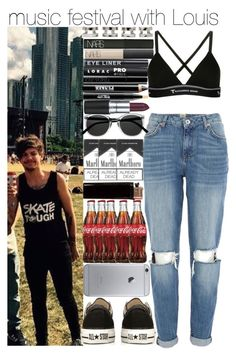 """""""music festival with Louis"""" by juu-jucry ❤ liked on Polyvore featuring River Island, T By Alexander Wang, Maison Margiela, NARS Cosmetics, Giorgio Armani, LORAC, MAC Cosmetics, Ardency Inn, Retrò and Converse"""