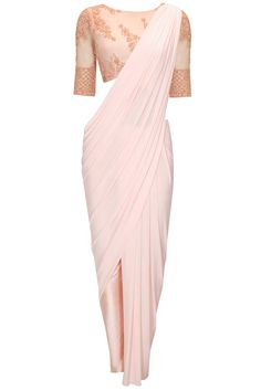 Blush beaded three piece wrap sari set available only at Pernia's Pop-Up Shop.