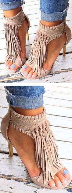 Santa Fe Split Suede Leather Fringe Sandal