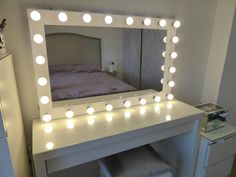 XL Hollywood lighted vanity mirror-makeup mirror with lights-Wall hanging/free standing-Perfect for IKEA malm vanity -Bulbs not included Hollywood beleuchteter Kosmetikspiegel – großer Kosmetikspiegel mit Mirrors For Makeup, Diy Vanity Mirror, Makeup Table Vanity, Makeup Mirror With Lights, Vanity Room, White Vanity, Diy Vanity Lights, Vanity Tables, My Mirror