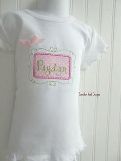 Personalized Baby Girl one piece (tm), bodysuit  or  ruffle edge T- Shirt, monogram, pink polka dot frame