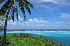Mont Popoti lookout on Bora Bora, French Polynesia Bora Bora Overwater Bungalows, Society Islands, Blue Lagoon, Day Off, French Polynesia, Tahiti, Vacation Trips, Destinations, Beach