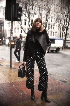 Shop the look from lizzyhadfield on ShopStyle Rome Outfits, Casual Outfits, Fashion Outfits, Quirky Fashion, Minimal Fashion, Floral Pants Outfit, Polka Dot Pants, Polka Dots, Professional Outfits