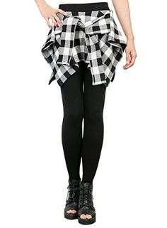 ililily Women Inset Tied Over Plaid Checkered Shirt Aroun...