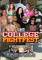 IWC College Fightfest: Volume 2 April 20th, 2011 – New Kensington, PA  The Founding Fathers vs. Shiima Xion, Jon Bolen, & C.A. Low, Special Guest Referees: Bubba the Bulldog & Jimmy DeMarco IWC Super Indy Champion Super Hentai vs. Azrieal Best 2 out of 3 Falls: IWC Tag Team Champions Flippin' Ain't Easy vs. Aeroform Mia Yim vs. Lorelei Lee No DQ TLC Match: Marshall Gambino vs. Logan Shulo Super Indy X Qualifying Match: Bobby Shields vs. Pinkie Sanchez Chest Flexor vs. David R. DiMera Tyler…
