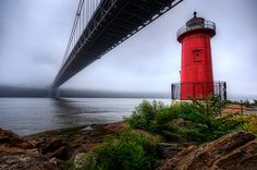 The George Washington Bridge and the Little Red Lighthouse.