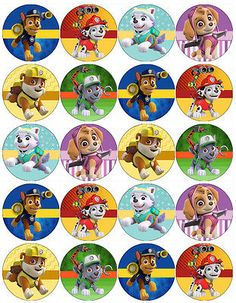 PAW PATROL V4 EDIBLE WAFER PAPER TOPPERS CUPCAKE CAKE MUFFIN