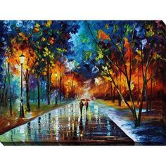 Leonid Afremov 'Winter Park' Giclee Print Canvas Wall Art