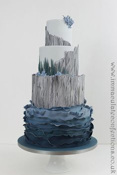wedding cakes beach Sea Themed Driftwood Ruffle Cake Wedding Cakes - Award Winning Cakes by Natalie Porter - Hertfordshire, London and Essex Floral Wedding Cakes, Themed Wedding Cakes, Cake Wedding, Lighthouse Cake, Cookie Recipes For Kids, London Cake, Beach Cakes, Ruffle Cake, Cupcakes