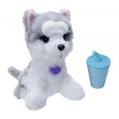 FurReal Friends Lil' Big Paws DJ Howler is a husky puppy that rears its head back and howls when you squeeze its belly.