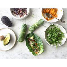 Veggie wraps! Veggie Wraps, Fresh Rolls, Veggies, Ethnic Recipes, Ideas, Food, Vegetarian Wraps, Meal, Vegetables