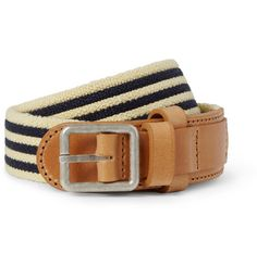 A.P.C.Striped Canvas and Leather Belt