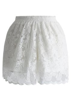 Not sure if I would love these or if they would never get worn? White Lace Shorts, Floral Shorts, Short Playsuit, Led Dress, Slip Skirts, Lace Slip, Unique Fashion, Fashion Brand, Vintage Inspired