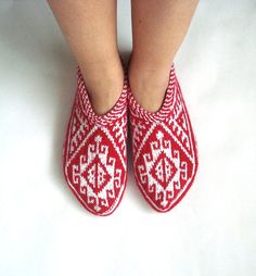 adult slippers Traditional Hand Knitted Turkish by AnatoliaDreams