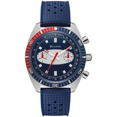 Add a sporty yet sophisticated touch to any casual or business attire with this men's chronograph watch from Bulova. Vintage Bulova Watches, Bulova Mens Watches, Lux Watches, Vintage Watches For Men, Vintage Waves, Red Accents, Stainless Steel Case, Chronograph, Surfboard