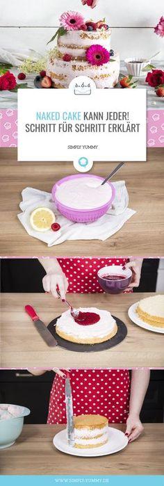 Wolltest du schon immer einen Naked Cake selber backen, aber wusstest nicht wie? Damit ist jetzt Schluss, lies dich durch unseren Guide und lerne alles über den perfekten Naked Cake! #nakedcake #naked #cake #recipe #guide #anleitung #stepbystep #rezept #rezepte #erklärt #backen #lecker #torte #torten