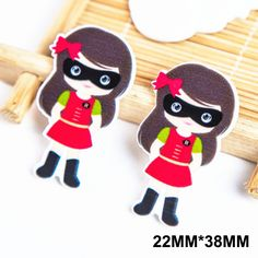 50pcs 22*38MM Cartoon Super Hero Girl Flatback Resin Planar Kawaii Superman DIY Crafts For Home Decoration Accessories FR023