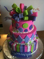 Hot Pink and Purple birthday cake,  designed by Sam Lucero, Blue Cake, Little Rock AR
