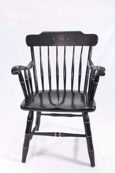 Vintage Hitchcock Style  Pair of Black M.I.T  Chairs
