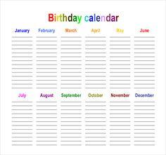 Birthday Calendar   Calendar Template