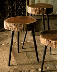 Rustic Stool. Made from acacia wood atop three sturdy, hand-forged iron legs, these quirky pieces make rustic stools or side tables. Each will be unique and one-of-a-kind.