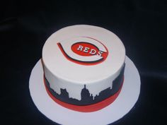 Awesome Cincinnati Reds cake from Night Kitchen Cakes!  https://www.facebook.com/photo.php?fbid=399346346799611=a.159195657481349.40114.158954270838821=1#!/pages/Night-Kitchen-Cakes/158954270838821
