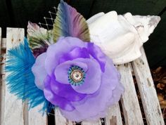 Lilac Satin Rose blue ostrich feather Bridal Hat by AtelierGwendolyne, $75.00