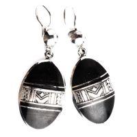 Boucles d'oreilles touareg en ebene et argent