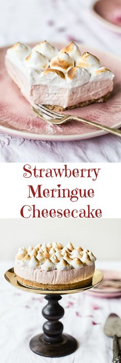 This lighter than a cloud strawberry meringue cheesecake is easier to make that you think! A delicious finish to your special occasion meal!