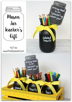 Mason jar gifts, mason jar diy, uses for mason jars, back to school gifts. Mason Jar Gifts, Mason Jar Diy, Wine Bottle Crafts, Jar Crafts, Diy Cadeau, Mason Jar Projects, Diy Projects, Teacher Appreciation Gifts, Decoration
