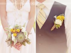 Cool boutonniere - looks like it has yellow balls, white flower and succulent which is great! Bouquet to have more white and yellow but feature succulents. Chic Wedding, Perfect Wedding, Wedding Blog, Wedding Day, Wedding Stuff, Dream Wedding, Autumn Wedding, Wedding Wishes, Wedding Trends