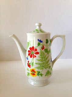 Vintage Tall and Slim Design with Colorful Floral Coffee Pot