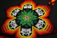 Large Festival Necklace Huichol Statement by BiuluArtisanBoutique Seed Bead Flowers, Seed Beads, Brick Stitch Patterns, Beaded Flowers Patterns, Beading Projects, Diy Necklace, Mandala, Blanket, Crochet