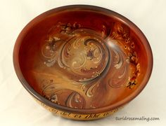 Glazed bowl, painted by Turid Helle Fatland, Norway.