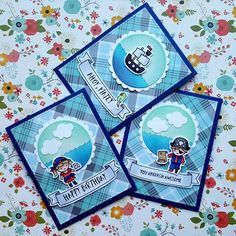 "Three cards, one stamp set. I used ""Ahoy, Matey"" from ""Lawn Fawn""."