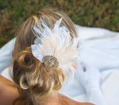 Ivory Bridal Hair Accessories Peacock Feather Fascinator Wedding Hair Clip Vintage Velvet Leaves - Made to Order - PEGGY