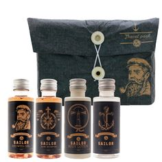 Travel pack Sailor (Rum): Shower Gel 50 ml, Hair Shampoo 50 ml, Body Lotion 50ml, Empty Bottle 50ml. Gift Set for Sailor, Zeeman, Man, Opa, Papa,Father, Father's Day..