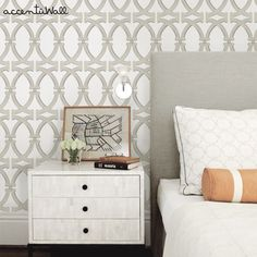 Links Peel & Stick Fabric Wallpaper Repositionable - Simple Shapes Wall Decals, Furniture, and Accessories Wallpaper Samples, Fabric Wallpaper, Wall Wallpaper, Transitional Wallpaper, Interior Design Boards, Temporary Wallpaper, Cleaning Walls, Home Bedroom, Master Bedroom