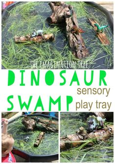 How to Make Rainbow Spaghetti for Sensory Play - Dinosaur swamp natural sensory play tray - Eyfs Activities, Nursery Activities, Dinosaur Activities, Toddler Activities, Family Activities, Summer Activities, Indoor Activities, Nursery Themes, Dinosaur Crafts Kids