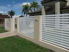 modern fence designs metal with concrete walls - Google Search