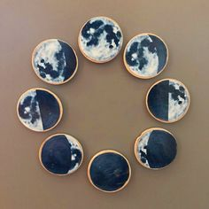 Moon Phase Magnets are great visuals for assisting in Lunar Cycle Curriculum. This 8 magnet set is handmade with inch wooden circles. For kids or adults with an affinity for space and learning. Moon Party, Third Birthday, Moon Phases, Art Drawings, Magnets, Handmade, Murals, Curriculum, Circles