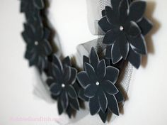 """#Black #HalloweenDecor #Halloween #Wreath Black #Paper #Flowers #Morticia III""  by BubbleGumDish.com"