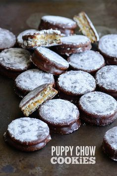 Easy, fool-proof Puppy Chow cookies made with Ritz crackers and an ultra-indulgent 5-minute chocolate ganache coating.