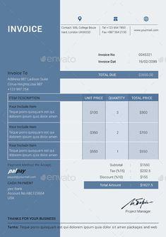 Invoice Page Clean Invoice #clean #invoice  Invoice Design  Pinterest