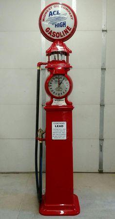 Restored Original Wayne Clock Face Gas Pump - Ace High Gasoline