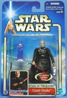 """Star War Attack of the Clones - Count Dooku by HASBRO. $9.99. This 3-4"""" -inch-tall figure. A former Jedi Knight, the disillusioned Count Dooku lost faith in the Republic and abandoned the Jedi Order. After 10 years spent in seclusion honing his Force abilities, this old-style fencing master wields his scimitar-handled lightsaber with consummate grace. This 3-4""""-inch-tall figure"""