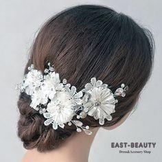 結婚式・ウェディング・パーティー・発表会・演奏会・にぴったりなパール&ビーズ レース生地のお洒落なヘッドドレス髪飾り、結婚式&2次会など行かれる方、存在感あり、お薦めです。