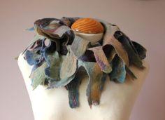 Handmade felted wool anemone spikey tassle scarf blue purple green lagenlook £59.99