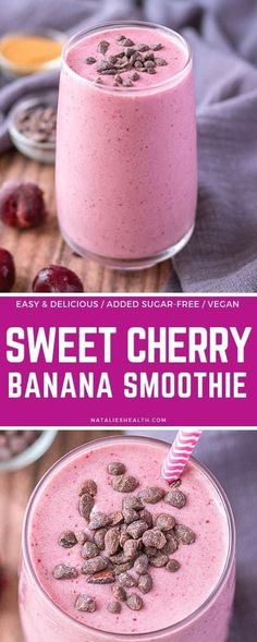Cherry Banana Smoothie is perfect energy-packed morning drink! 6 ingredients, healthy, naturally sweetened, and so delicious. Vegan and gluten-free. --- #smoothie #smoothierecipes #cherry #cherryrecipe #vegan #veganrecipes #veganfood #healthyrecipes #breakfast #breakfastideas #glutenfree