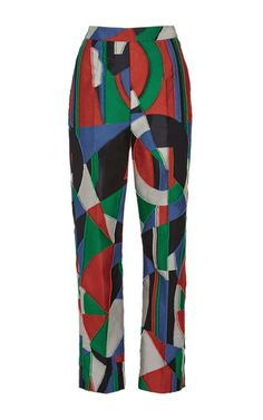 This **Isa Arfen** pant is rendered in multicolor Moscow jacquard and features a high rise with a cropped slim leg.